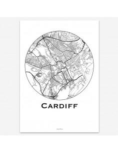 Affiche Poster Cardiff Pays de Galles Minimalist Map