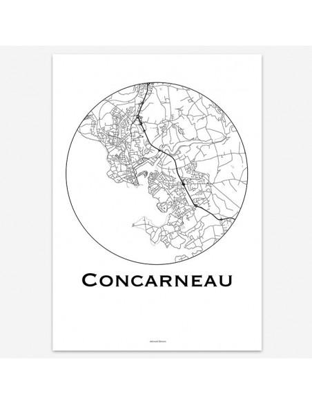 Affiche Poster Concarneau France Minimalist Map