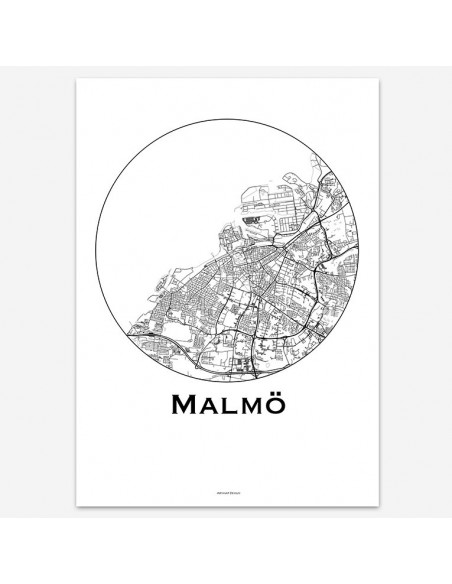 Affiche Poster Malmo Suède Minimalist Map