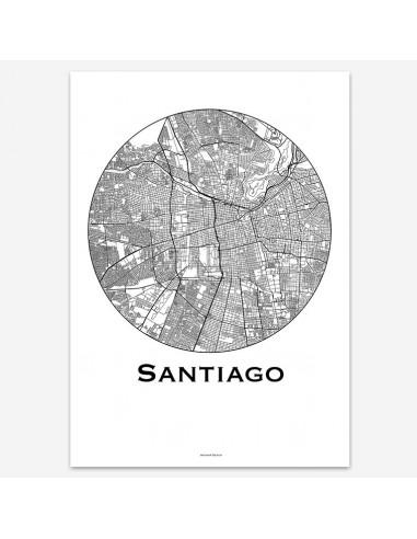 Affiche Poster Santiago Chili Minimalist Map