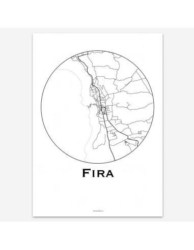 Affiche Poster Fira Santorin Grèce Minimalist Map