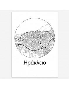 Affiche Poster Héraklion Crète Minimalist Map