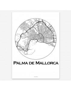 Affiche Poster Palma de Majorque Baléares Minimalist Map