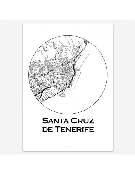 Affiche Poster Santa Cruz de Tenerife Canaries Minimalist Map