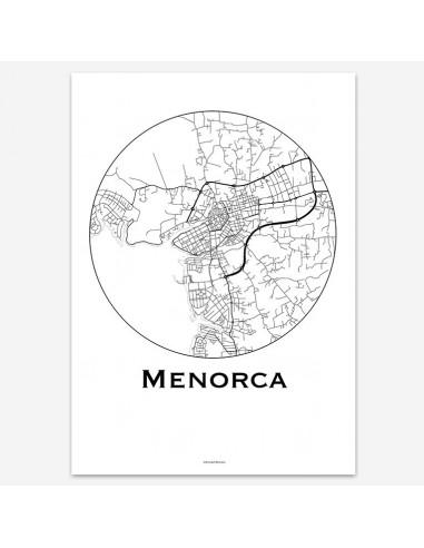 Affiche Poster Minorque Baléares Minimalist Map
