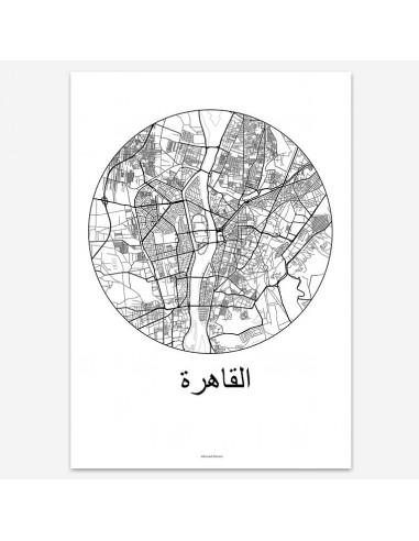 Affiche Poster Le Caire Egypte Minimalist Map