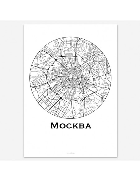 Poster Moscow Russia Minimalist Map