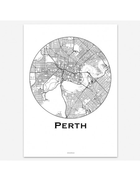 Affiche Perth Australie Minimalist Map