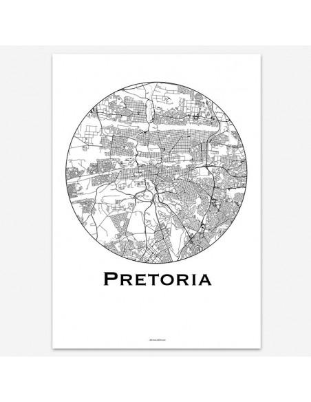 Affiche Poster Pretoria Afrique du Sud Minimalist Map