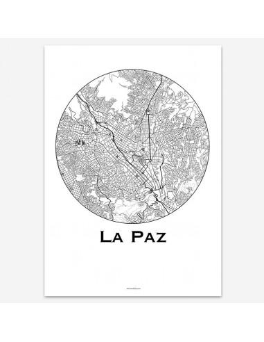 Affiche Poster La Paz Bolivie Minimalist Map