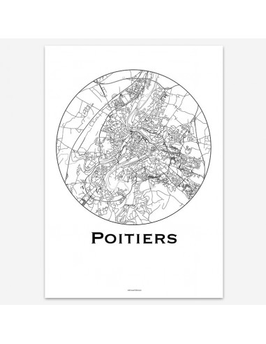 Affiche Poster Poitiers France Minimalist Map