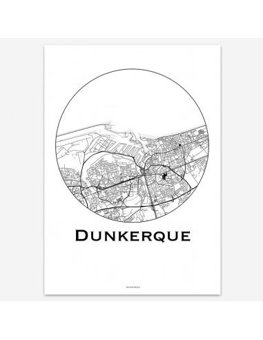 Affiche Poster Dunkerque France Minimalist Map