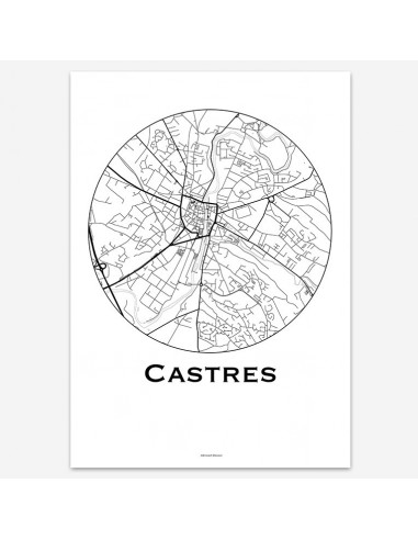 Affiche Poster Castres France Minimalist Map