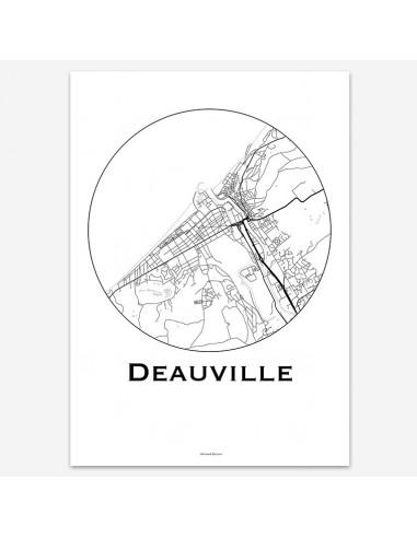 Affiche Poster Deauville France Minimalist Map