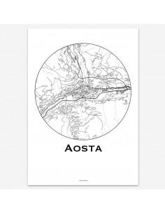 Affiche Poster Aosta Italie Minimalist Map