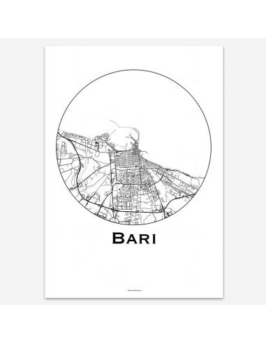 Affiche Poster Bari Italie Minimalist Map