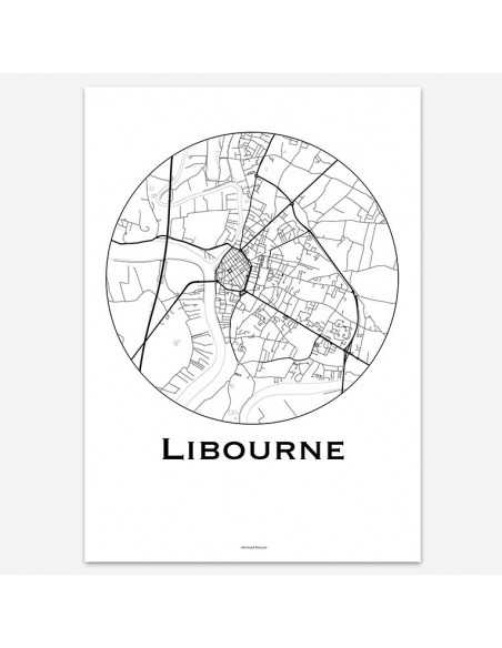 Affiche Poster Libourne France Minimalist Map