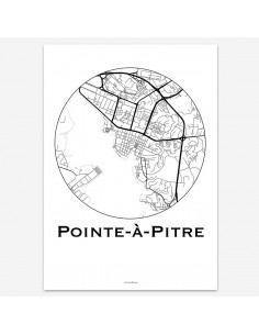 Affiche Poster Pointe-à-Pitre Guadeloupe Minimalist Map