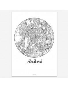 Affiche Poster Chiang-Mai Thaïlande Minimalist Map