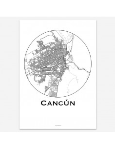 Affiche Poster Cancun Mexique Minimalist Map