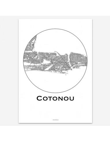 Affiche Poster Cotonou Bénin Minimalist Map