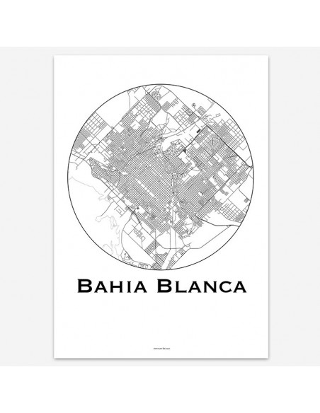 Affiche Poster Bahia Blanca Argentine Minimalist Map