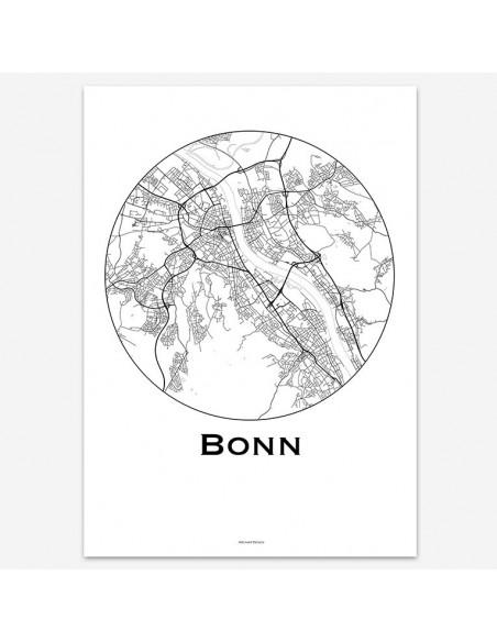 Affiche Poster Bonn Allemagne Minimalist Map