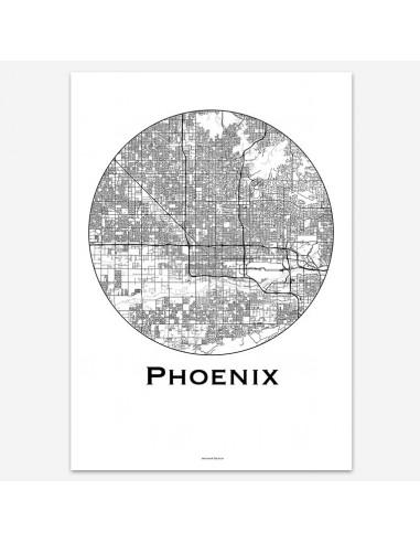 Affiche Poster Phoenix Etats-Unis Minimalist Map