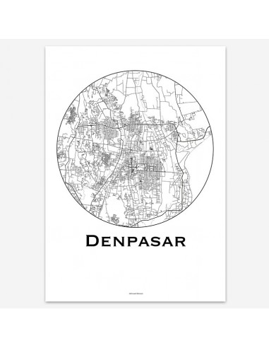 Poster Denpasar Bali Indonesia Minimalist Map