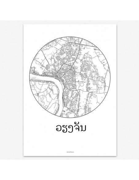 Affiche Poster Vientiane Laos Minimalist Map