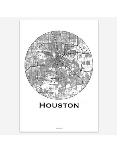 Affiche Poster Houston USA Minimalist Map