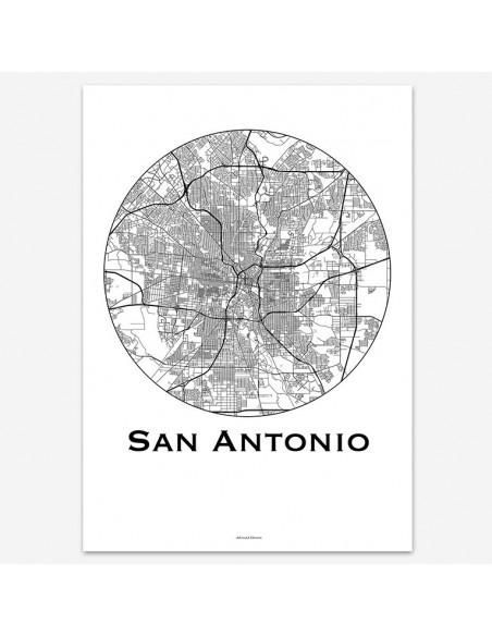 Affiche Poster San Antonio USA Minimalist Map
