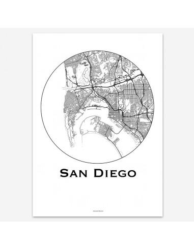 Poster San Diego USA Minimalist Map