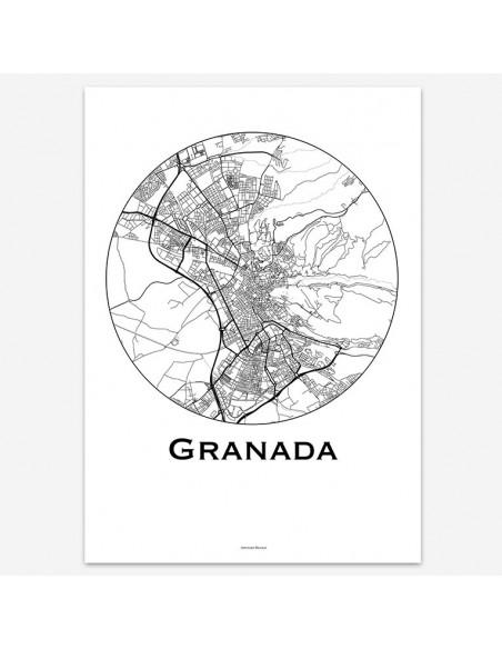 Affiche Poster Grenade Espagne Minimalist Map