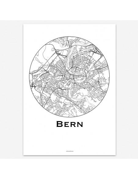 Affiche Poster Berne Suisse Minimalist Map
