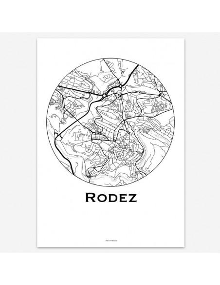Affiche Poster Rodez France Minimalist Map