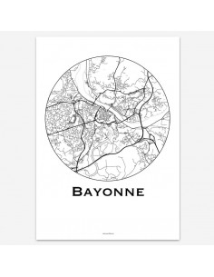 Affiche Poster Bayonne France Minimalist Map