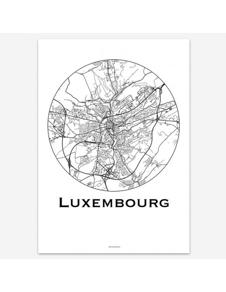 Affiche Poster Luxembourg Luxembourg Minimalist Map