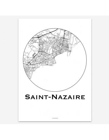 Affiche Poster Saint-Nazaire France Minimalist Map