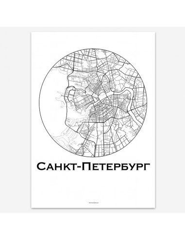 Affiche Poster Saint Peterbourg Russie Minimalist Map