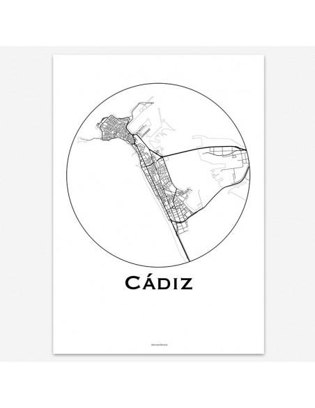 Affiche Poster Cadix Espagne Minimalist Map
