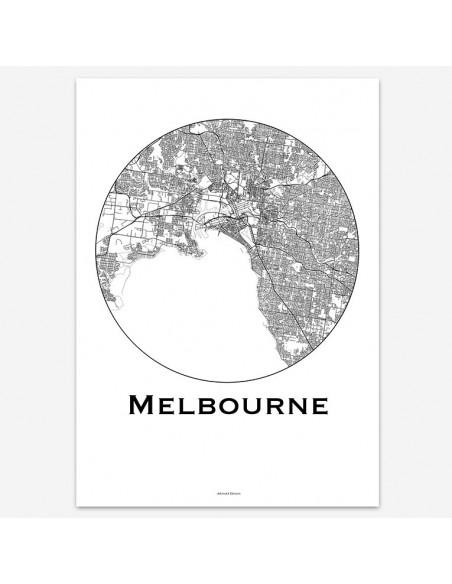 Affiche Poster Melbourne Australie Minimalist Map