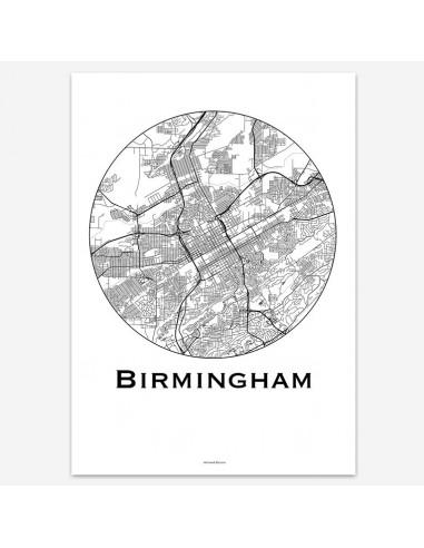 Poster Birmingham USA Minimalist Map