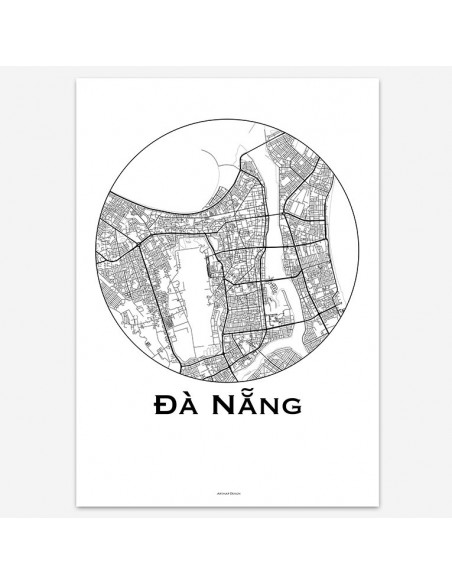Affiche Poster Da Nang Vietnam Minimalist Map