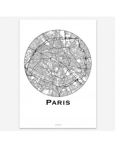 Affiche Poster Paris France Minimalist Map
