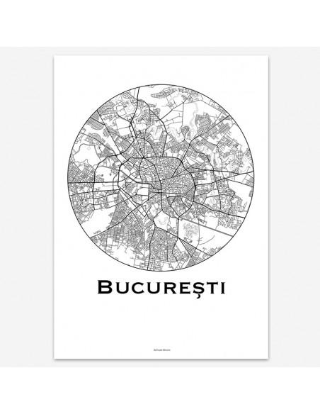 Affiche Poster Bucarest Roumanie Minimalist Map