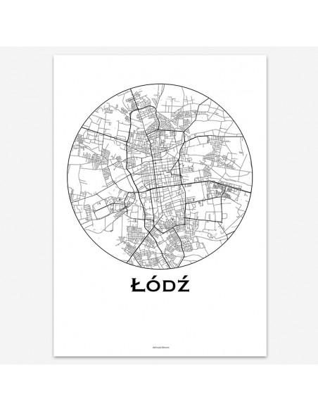 Affiche Poster Lodz Pologne Minimalist Map