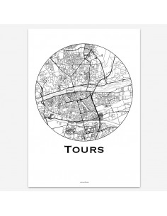 Affiche Poster Tours France Minimalist Map