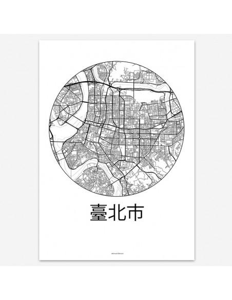 Affiche Poster Taïpei Taïwan Minimalist Map