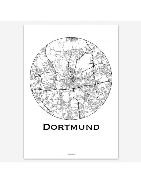 Affiche Poster Dortmund Allemagne Minimalist Map